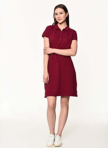 Tommy Hilfiger Kadın New Chiara Str Pq Polo Elbise 1M87640146 Kırmızı